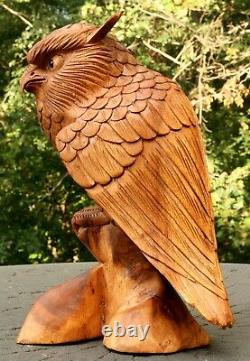 12 Large Wooden Owl Statue Hand Carved Sculpture Figurine Art Home Decor Gift