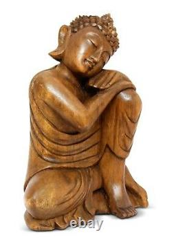 16 Large Hand Carved Wooden Sleeping Buddha Statue Resting Sitting Sculpture