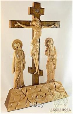 16'' Religious Table Wooden Carved Crucifix In Golgotha Calvary Gift Believe