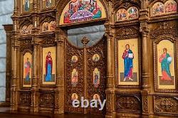 23'' Home Iconostasis Oak God Prayer Corner Orthodox Wooden Personalized Gift