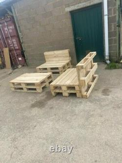 2 Handmade Natural Wood Pallet Chairs And 1 Table Garden Furniture