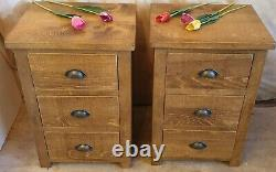 2 NEW SOLID WOODEN BEDSIDE END CHESTS CABINETS RUSTIC PLANK Indigo Furniture