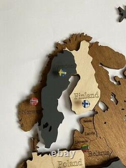 3D Wooden Wall World Map M sz(43 x 24) with Countries And States