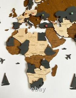 3D Wooden Wall World Map M sz(63 x 37) with Country Names with Brown+Dark Grey