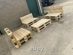 3 Handmade Natural Wood Pallet Chairs And 1 Table Garden Furniture