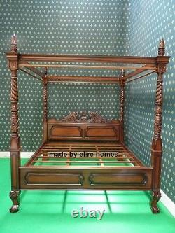 5' King four poster mahogany wooden Queen Anne chippendale canopy bed