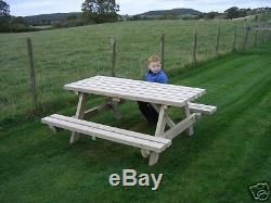 7ft Picnic Bench Heavy Duty Wooden Garden Table
