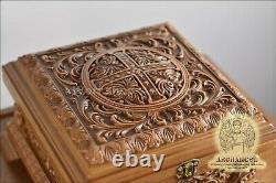 8.5 Religious Carved Wooden Reliquary Box Religious Reliquary For Church Oak