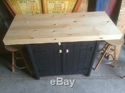 A Rustic Wooden Freestanding Kitchen Island Handmade Breakfast Bar Cupboard Unit