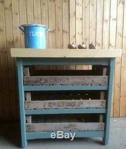A Rustic Wooden Pine Freestanding Kitchen Island Butchers Block Unit Any Colour