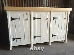 A Rustic Wooden Solid Pine Freestanding Kitchen Handmade Triple Cupboard Unit