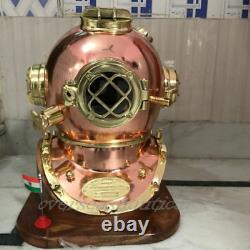 Antique Brass Diving Divers Helmet copper Vintage Mark V Full size w Wooden Base