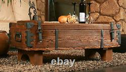 Antique RusticTravel Trunk Wooden Coffee Table Cottage Steamer Vintage Chest