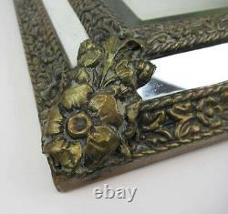 Antique ornate 1800's Dutch handmade wooden brass bronze embossed wall mirror