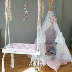 Babyuniquecorn Handmade Wooden Indoor Swing Pink