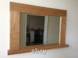 Beautiful Quality Handmade Solid Oak Wooden Mirror With Shelf