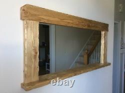 Beautiful quality handmade rustic style wooden mirror with shelf