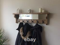 Beautiful quality handmade rustic wooden coat hook rack with mirror and shelf