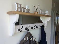 Beautiful quality handmade wooden coat hook rack with mirror and shelf