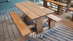 Bespoke Rustic Wooden Picnic Table Bench Garden Furniture Patio Outdoor Dining