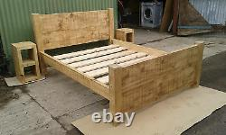 Brand New Solid Wood Rustic Chunky Kingsize Plank 5' Wooden Bed Chunky Bed Frame