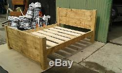Brand New Solid Wood Rustic Chunky Super-kingsize Plank 6' Wooden Bed