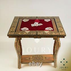 Chess Table 4 in1 Handmade Decorative Wooden Chess Backgammon Poker and Checkers