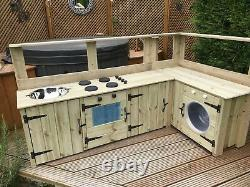 Child's wooden mud kitchen garden playroom playground nursery toddler handmade