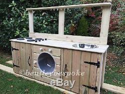 Child's wooden mud kitchen washing machine garden playroom handmade playground