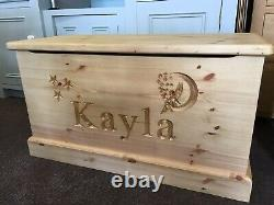 Childrens Handmade and Personalised, Solid Wooden Toy Box With Soft Closing Lid
