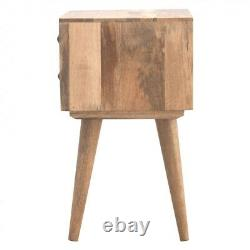 Classic Wooden Bedside Table 2 Drawers Oak Nordic Handmade Furniture