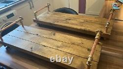 Copper Pipe Pair of 80cm rustic wooden shelves, Industrial reclaimed timber