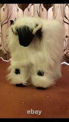 Cute furry foot stools faux fur valais blacknose sheep with solid wooden frame