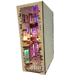 DIY Craft Diagon Alley Wooden Book Nook Art Bookends Removable Handmade Decor
