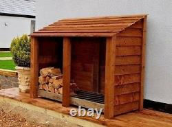 Double Bay 4ft Outdoor Wooden Log Store, Clearance Range UK Hand Made