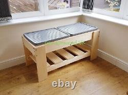 Double Handmade Wooden Sand And Water Or Mud Sensory Play Table. Garden Sandpit