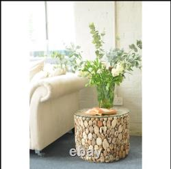 Driftwood Coffee Table Round Glass Furniture Rustic Wooden Side Handmade End