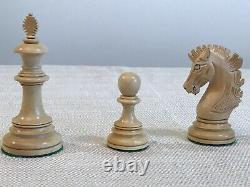 Ebony Wood 4 3/8 Inch Hand Made Wooden Luxury Staunton Chess Men set Pieces Only