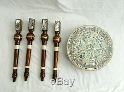 Egyptian Inlaid Mother of Pearl Wooden Table Round 12 (Piece of Art) From Egypt