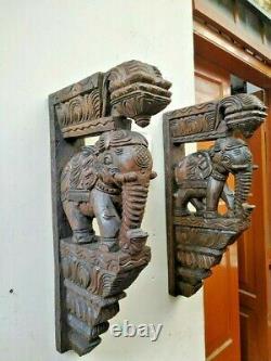 Elephant Wooden Bracket Corbel Pair Statue Handmade Wall Shelf Home Art Decor US