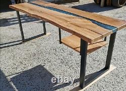 Epoxy Resin River Oak table with bespoke metal or wooden table legs