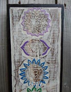 FairTrade Hand Carved Made Shabby Wooden Meditation Chakra Wall Art Plaque