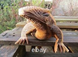 FairTrade Hand Carved Made Wooden Komodo Dragon Lizard Sculpture Ornament Statue