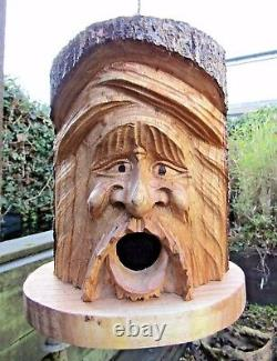 FairTrade Hand Made Wooden Green Man Wild Bird House Nesting Nest Box Garden Log