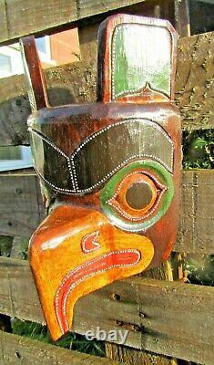 Fair Trade Hand Carved Made American Indian Tribal Eagle Totem Pole Wooden Mask
