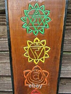 Fair Trade Hand Carved Made Large Wooden Meditation Chakra Dark Wall Art Plaque
