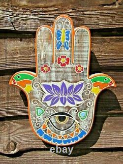 Fair Trade Hand Carved Made Shabby Wooden Hand Of Fatima Hamsa Wall Art Plaque