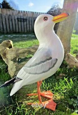 Fair Trade Hand Carved Made Wooden Beach Seagull Garden Bird Ornament Sculpture
