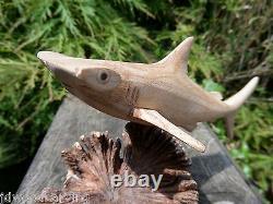 Fair Trade Hand Carved Made Wooden Hammerhead Shark Sea Parasite Statue Ornament