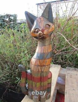Fair Trade Hand Carved Made Wooden Rainbow Cat Animal Sculpture Ornament Statue